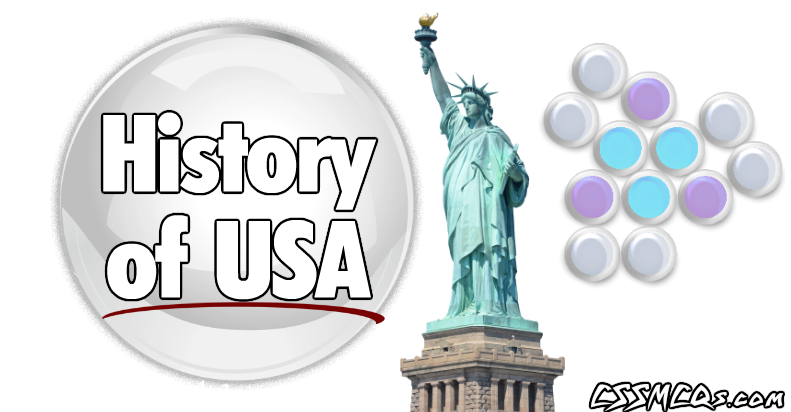 History of USA banner with statute of liberty